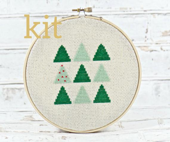christmas cross stitch kit with trees