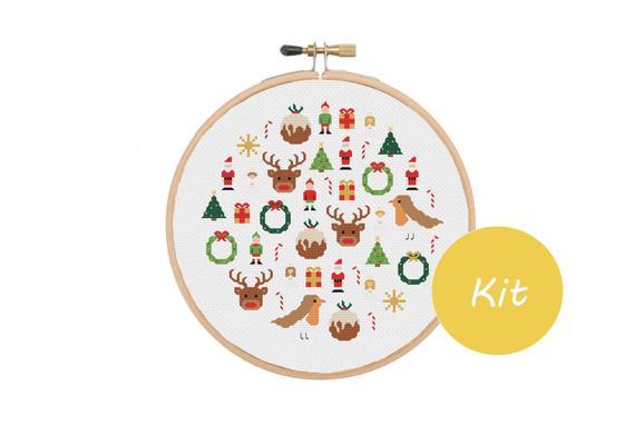 christmas mini icon cross stitch kit