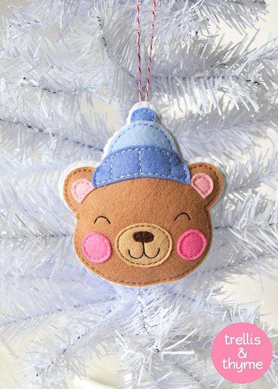 embroidered bear felt ornament