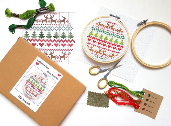 fair isle christmas cross stitch kit