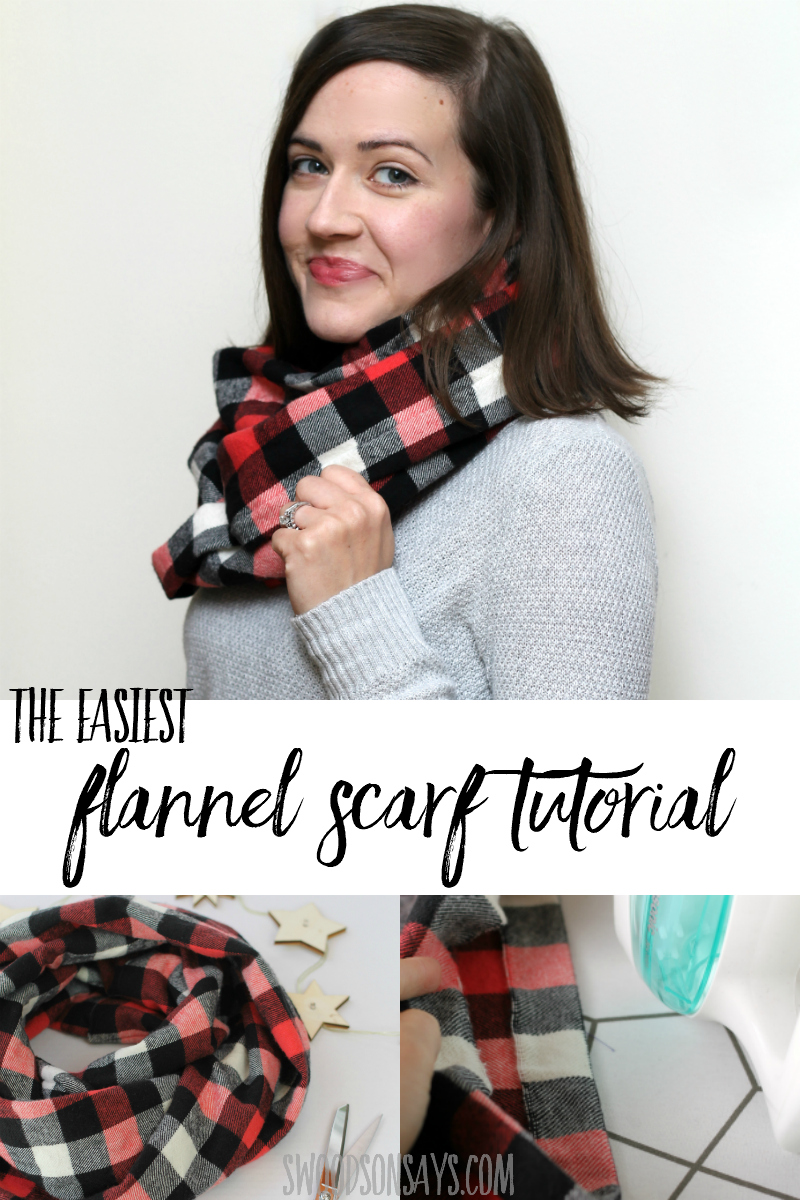 Perfect beginner sewing project to make as gifts or sell at craft fairs! Make this diy flannel infinity scarf in 15 minutes and keep warm. Super fun winter scarf sewing tutorial with full picture instructions. #sewing #freesewingpattern