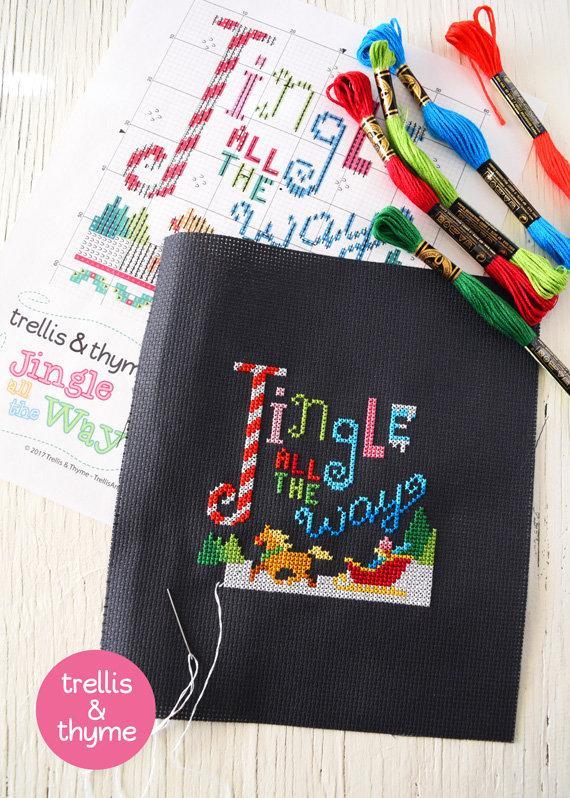 jingle all the way cross stitch pattern