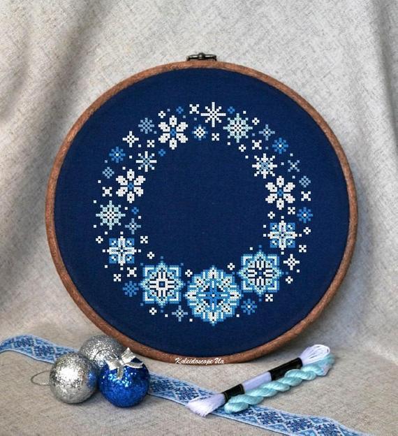 modern winter snowflake cross stitch pattern
