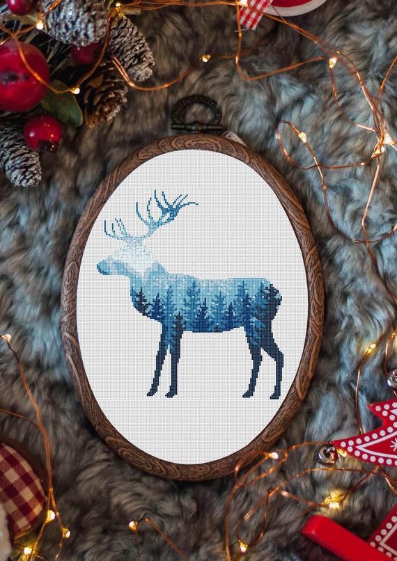 nordic deer cross stitch pattern
