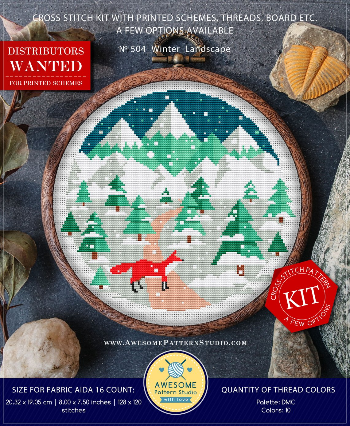 snowy fox cross stitch kit