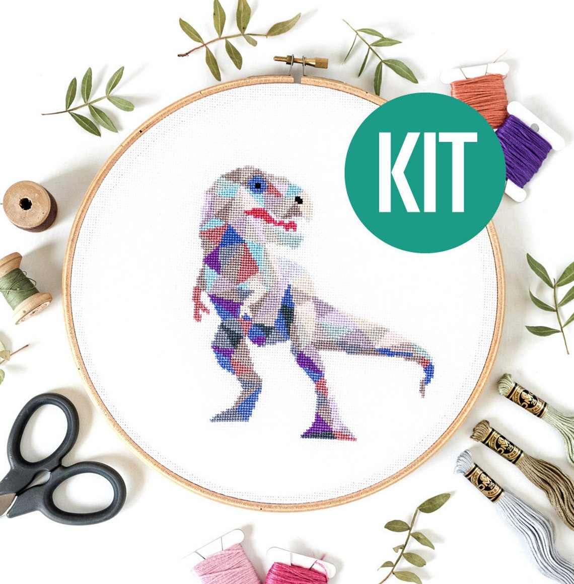 t rex cross stitch kit