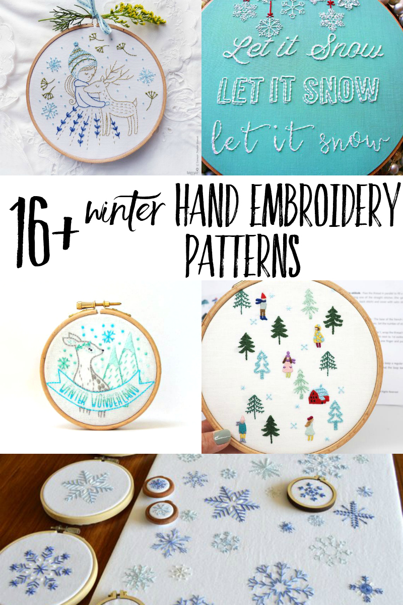 Curl up and get cozy with a winter hand embroidery pattern! This is a curated list with modern hand embroidery designs featuring winter weather, ice skates, woodland creatures, and pine trees! #handembroidery #embroidery #crafts #hygge