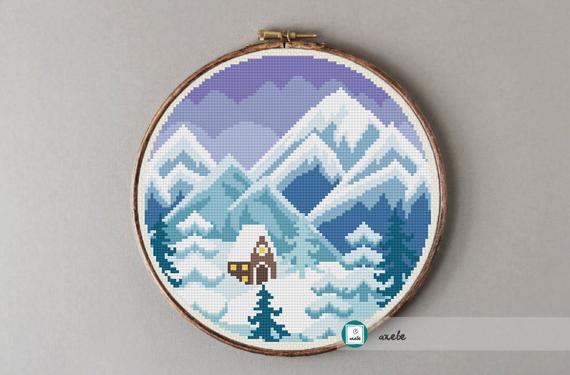 winter mountains snowy cross stitch pattern