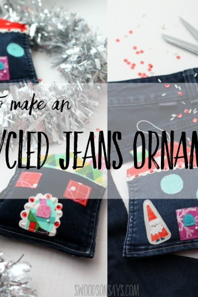 How to make an upcycled jeans pocket ornament