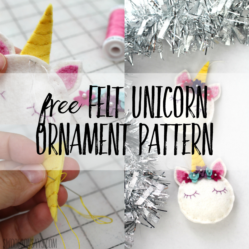 Free sewing pattern: Felt unicorn Christmas ornament