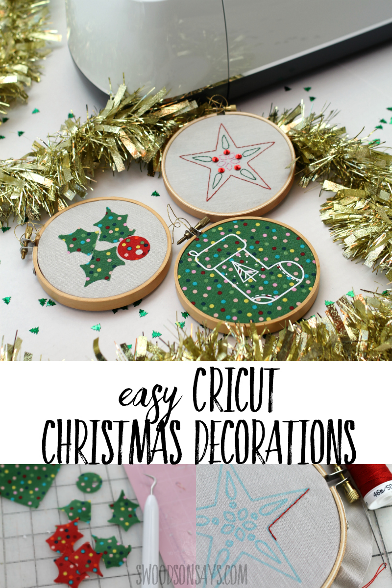 Whip up some super easy Cricut Christmas decorations with this fun tutorial! Get a link to the free file in design space and photo walk through with video. Transfer a hand embroidery pattern with your Cricut in a flash! #ad #Cricut #christmas #christmasornaments