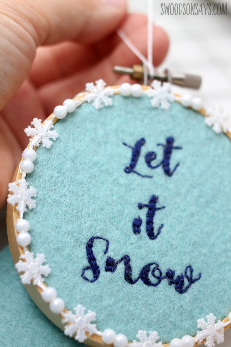 embroidered let it snow ornament tutorial