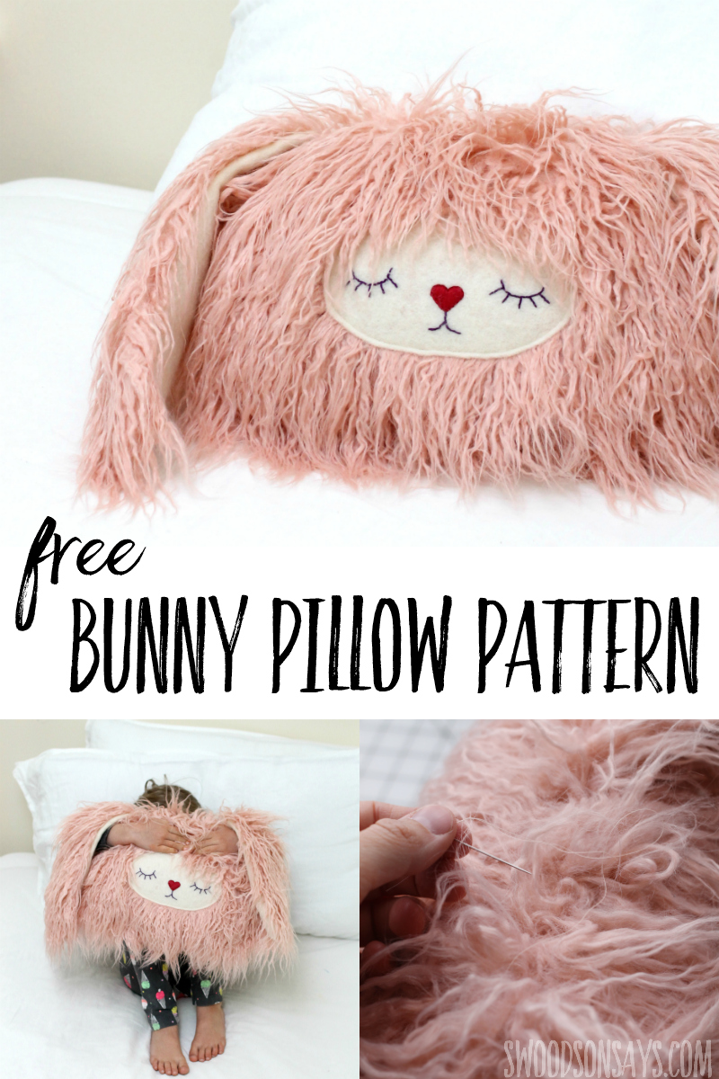 Download this free bunny pillow pattern and snuggle up this winter! This is a fun faux fur sewing tutorial that is perfect for winter - your kids will love this free stuffed animal sewing pattern! #sewing #hygge