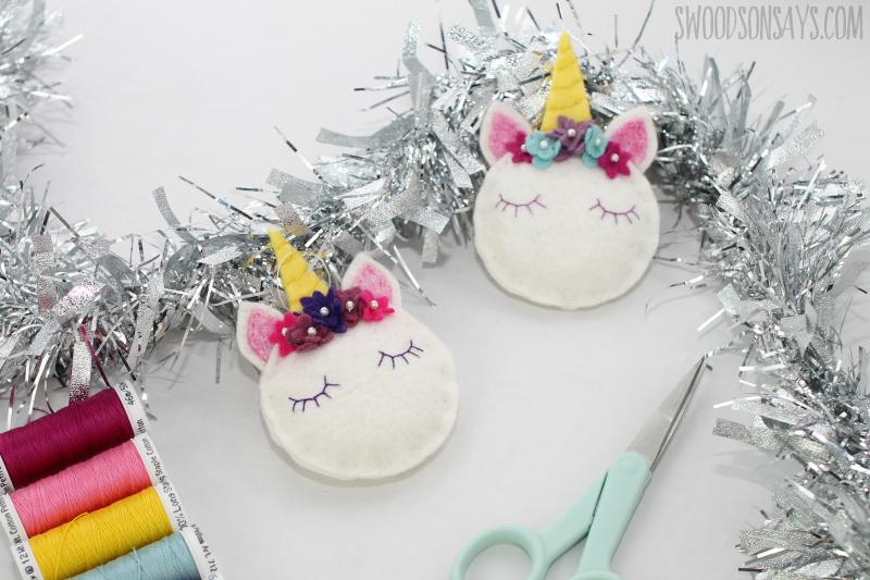 felt unicorn ornament tutorial