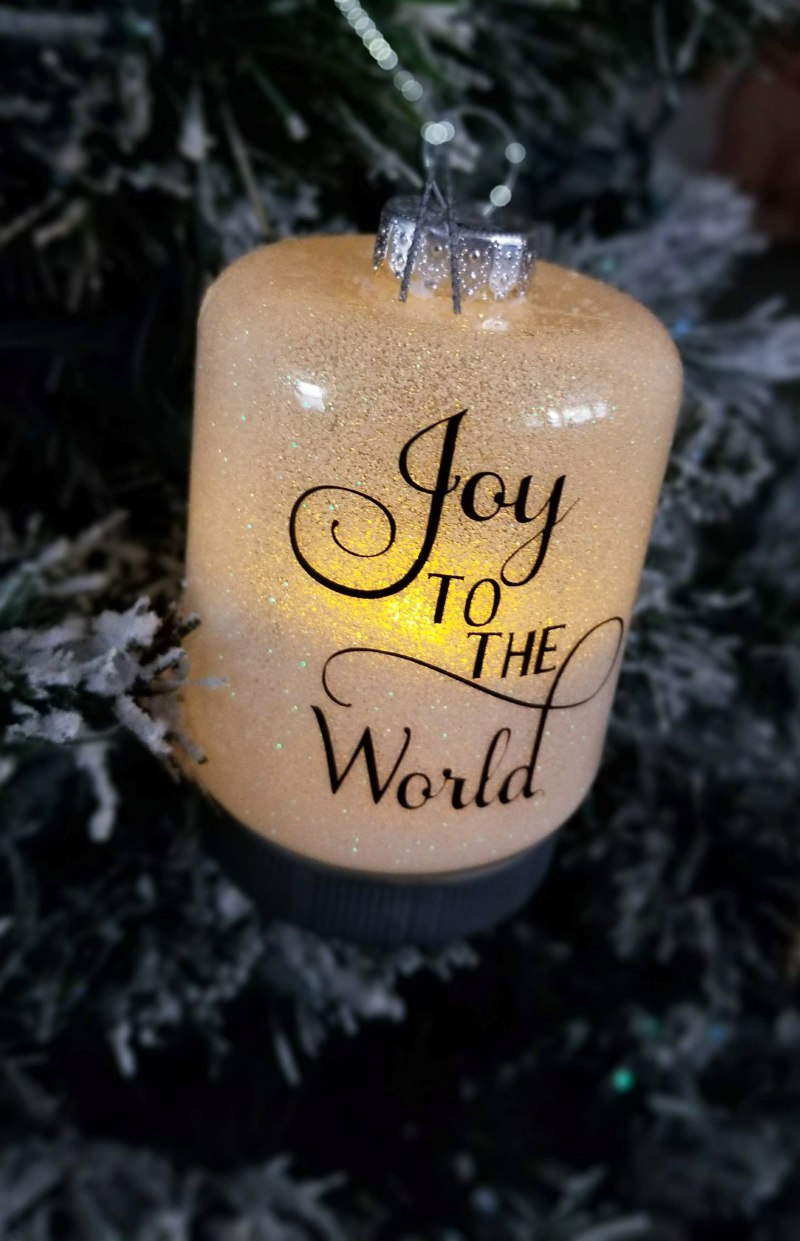 light up glitter ornament with cricut