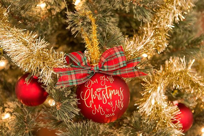 newlywed first christmas ornament cricut