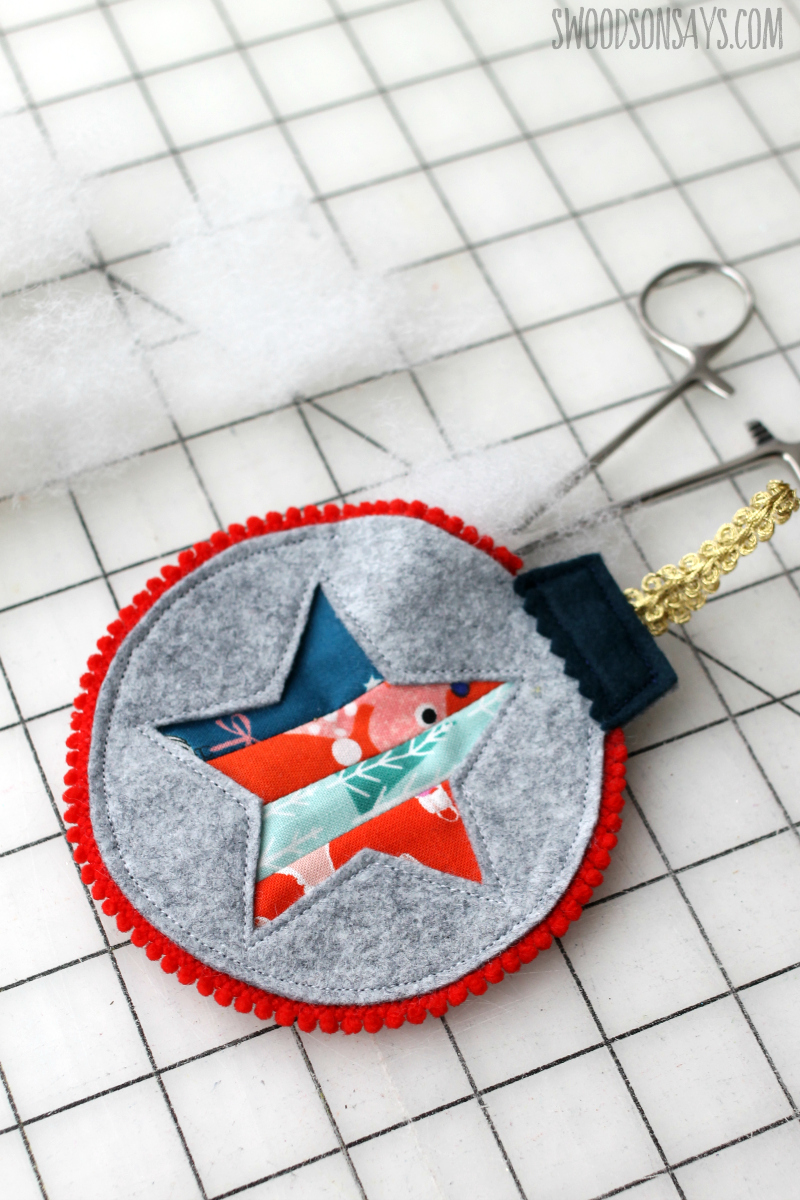step 9 stuffing a quilted christmas ornament