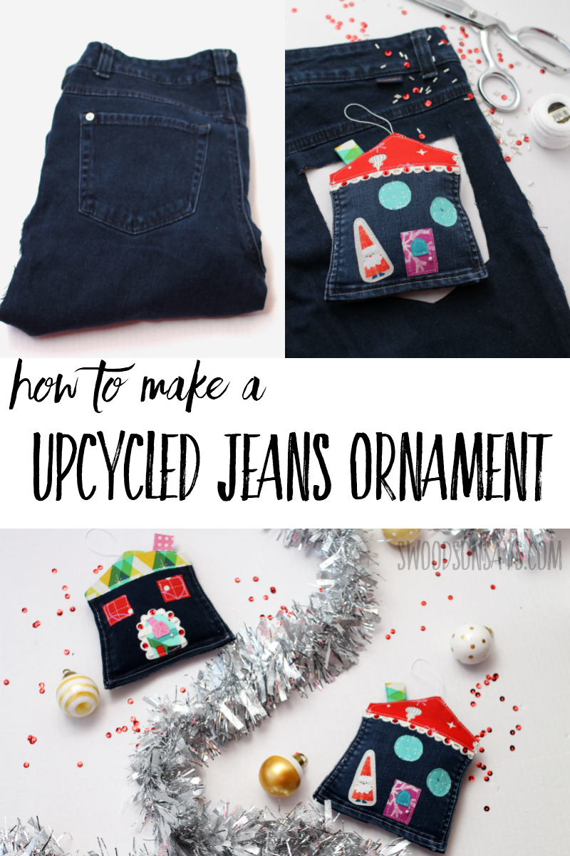 Make a cheap DIY Christmas ornament with this fun sewing tutorial! Upcycle a jeans pocket into a sweet little Christmas house and make a cute village on your tree! #sewing #upcycle #christmasornament