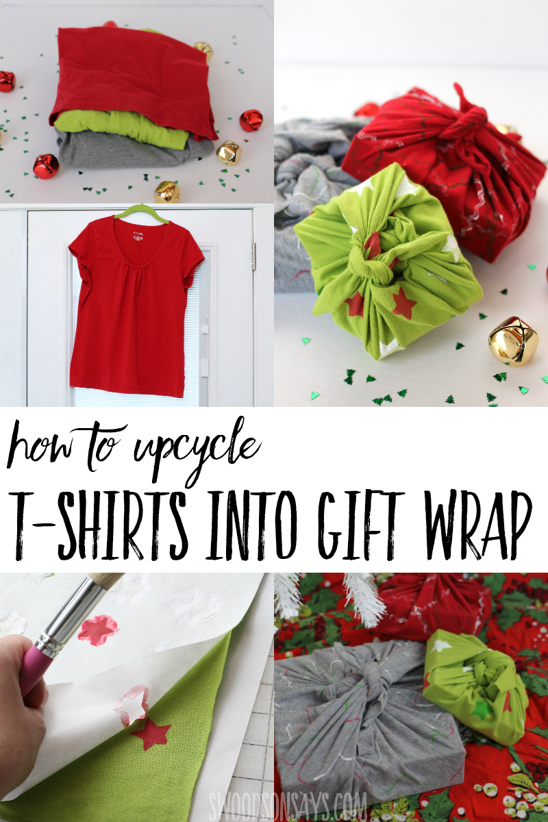 Upcycle a stack of old t-shirts into eco-friendly gift wrapping! Photo tutorial & video for how to make furoshiki from old t-shirts. Three different decoration methods shared, too! #upcycle #christmas #ecofriendly #crafts