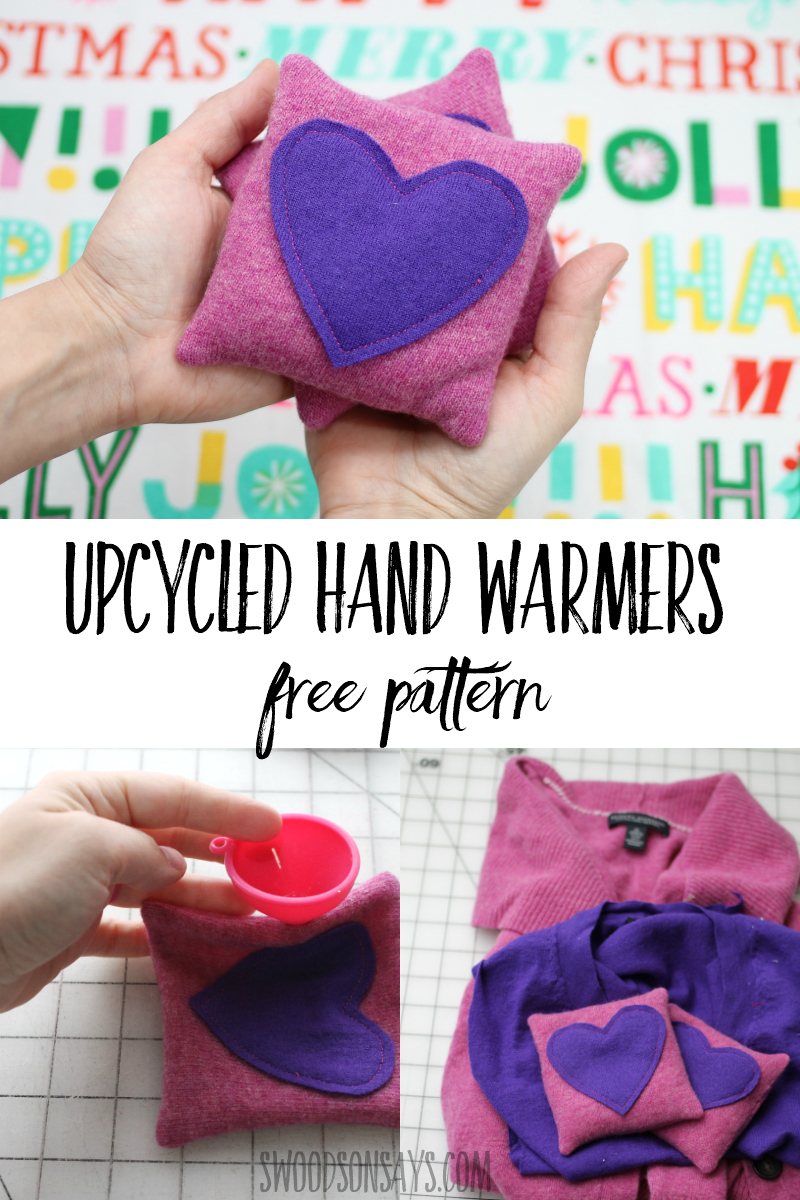 Download this free hand warmers sewing pattern and upcycle some old sweaters! Great gift and handy at home, they keep your fingers warm in winter. Full photo tutorial and pdf pattern included. #sewing #upcycle