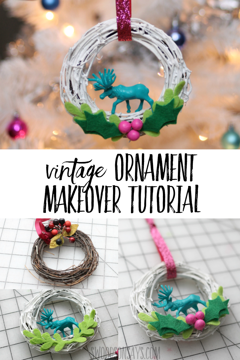 Dust off those old ornaments and give them new life! Check out this ornament upcycle tutorial - free felt leaf pattern included. #sewing #crafts #diy