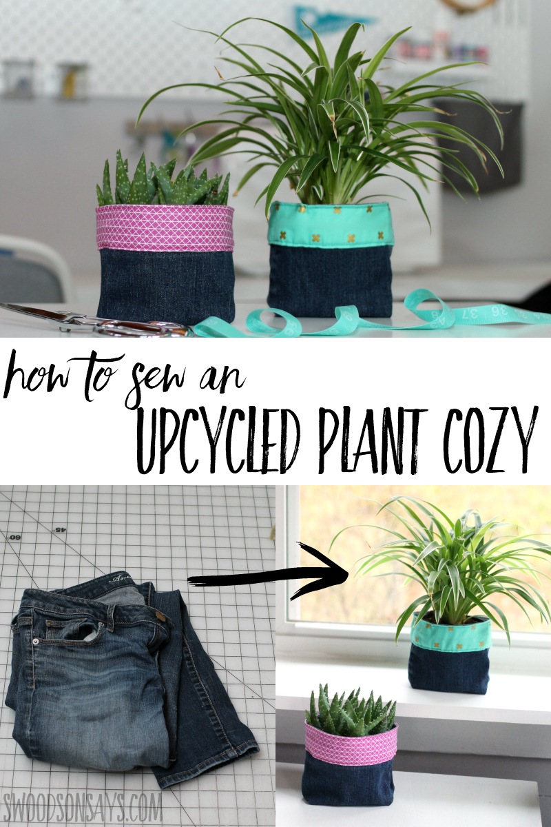 Upcycle jeans into a trendy plant cozy! This is a fun diy gift for a teen or adult, and can easily be customized for different decor or holiday seasons. Follow the photo sewing tutorial for this upcycle gift! #upcycle #handmadegift #plants #sewing
