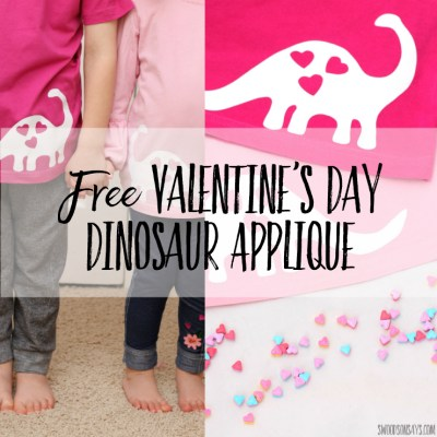 Need a fast Valentine's Day DIY shirt idea? Use this free dinosaur applique pattern and you'll be set! Use iron-on and a cutting machine or freezer paper & paint, either way you'll be done in 15 minutes. Perfect DIY tshirt for dinosaur lovers! #valentinesday #diyvalentine #diyvalentinesdayshirt