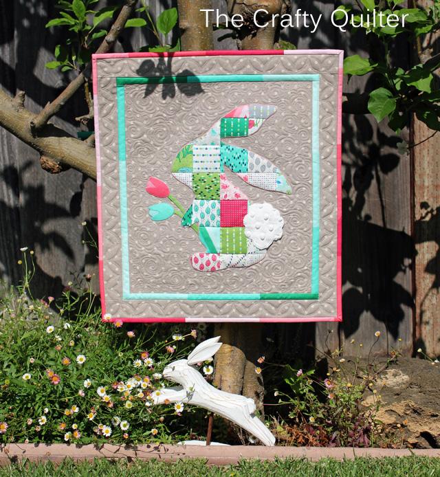 patchwork bunny mini quilt