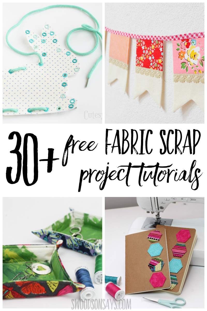 Overwhelmed by fabric scraps? Put them to good use! Check out this list of over 30 cute, useful sewing projects that use up fabric scraps. Free tutorials to sew with small pieces of fabric and make something fresh and fun! #sewing #quilting #fabric