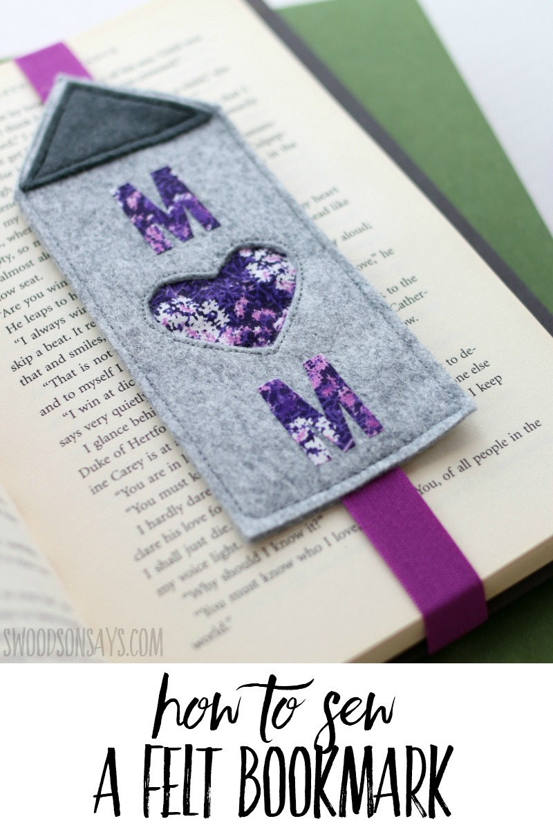 Download this free felt bookmark sewing pattern and stitch up a sweet handmade Mother's Day gift! Photo tutorial shows you how to reverse applique and put together this simple sewing tutorial. Sponsored post in collaboration with JOANN. #ad #sewing #mothersday #crafts
