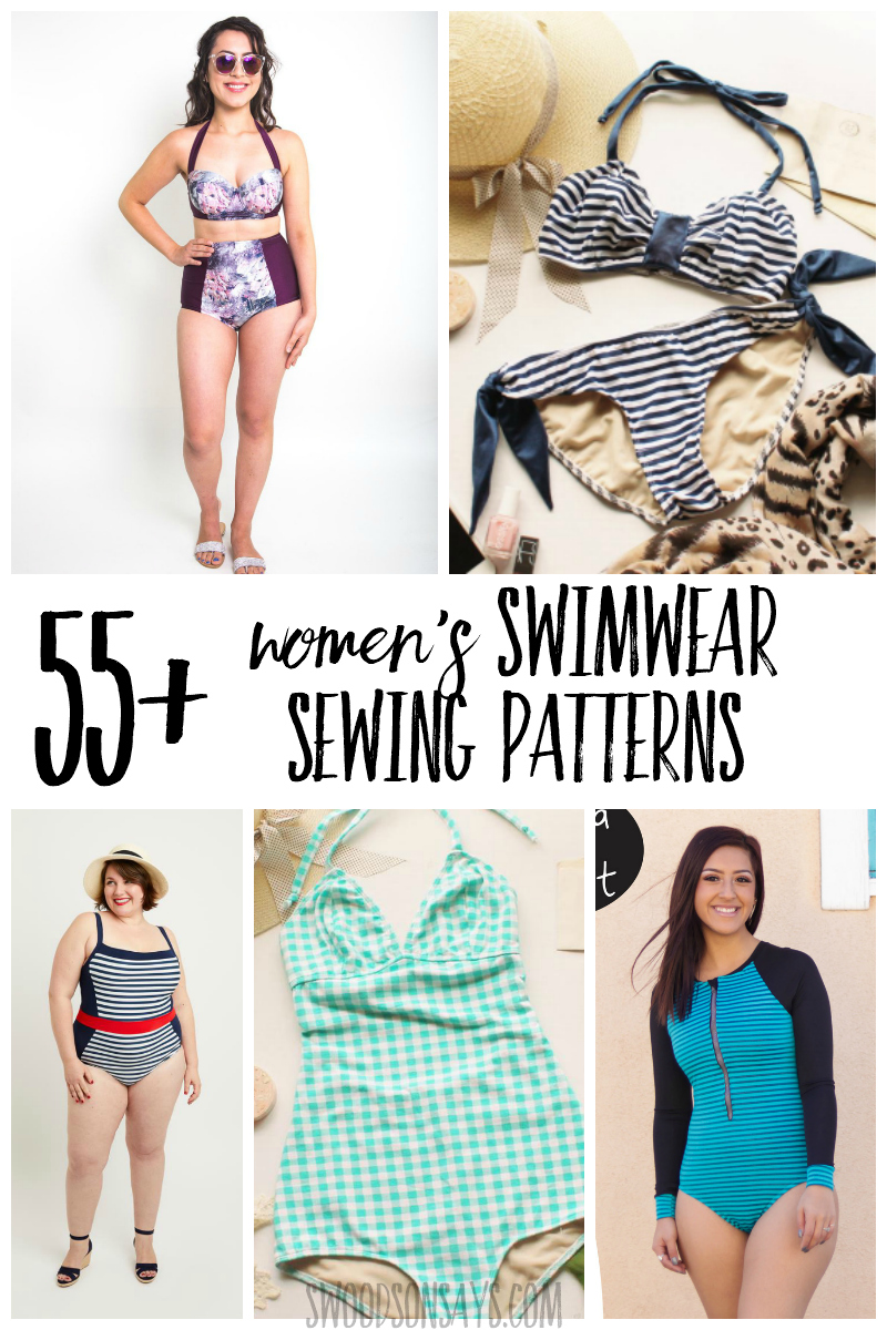 Sew your own swimsuit this year! Check out this curated list of over 55 women's swimsuit sewing patterns with photos, sizes listed, and links. #sewing #pdfpatterns