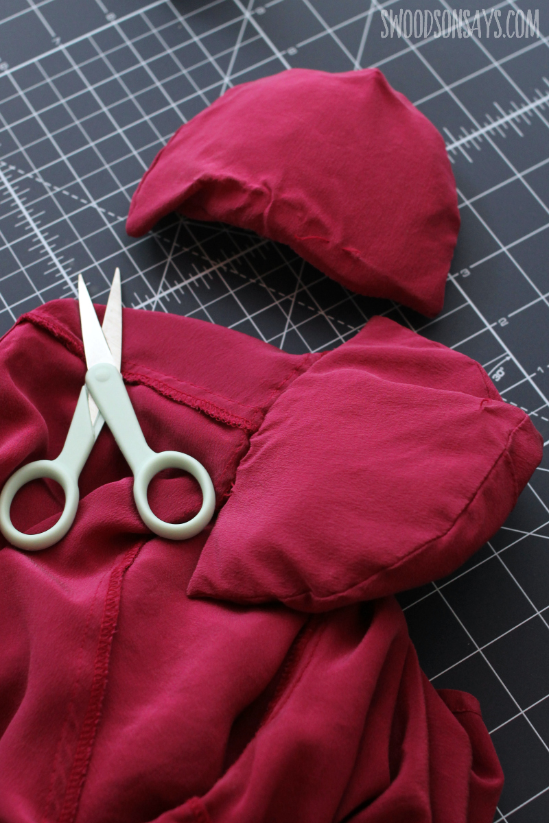 cutting out shoulder pads