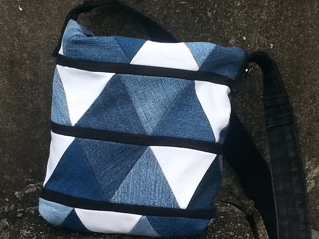 geometric denim upcycle bag