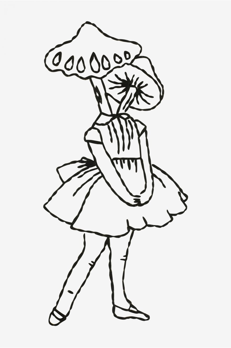 mushroom head girl embroidery pattern