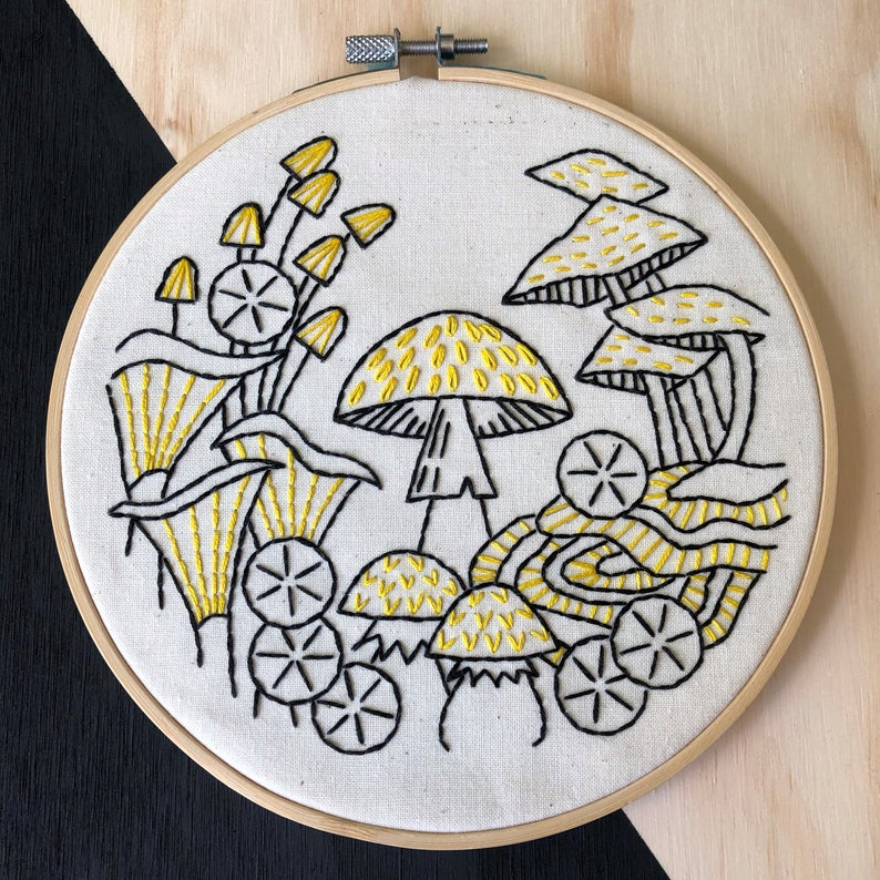 simple mushroom hand embroidery kit