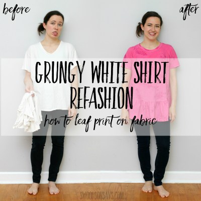 Leaf printing on fabric - grungy tshirt refashion tutorial