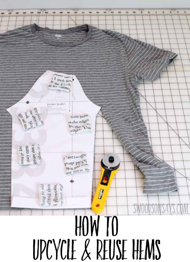 The best upcycle sewing tip, you can reuse the original hems when upcycling an adult shirt into a kid's shirt! See this picture tutorial for how and sew up super fast raglan shirts. #refashion #upcycle #sewing