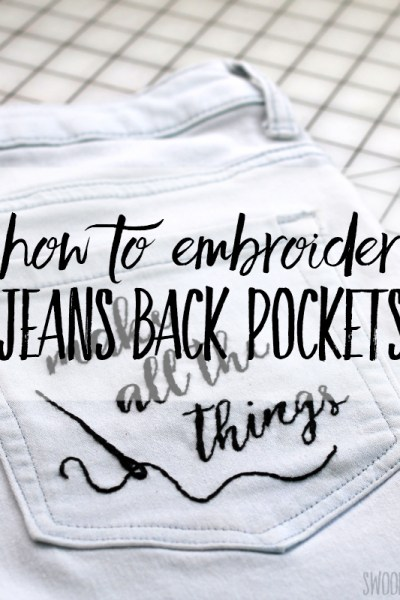 How to embroider jeans back pockets