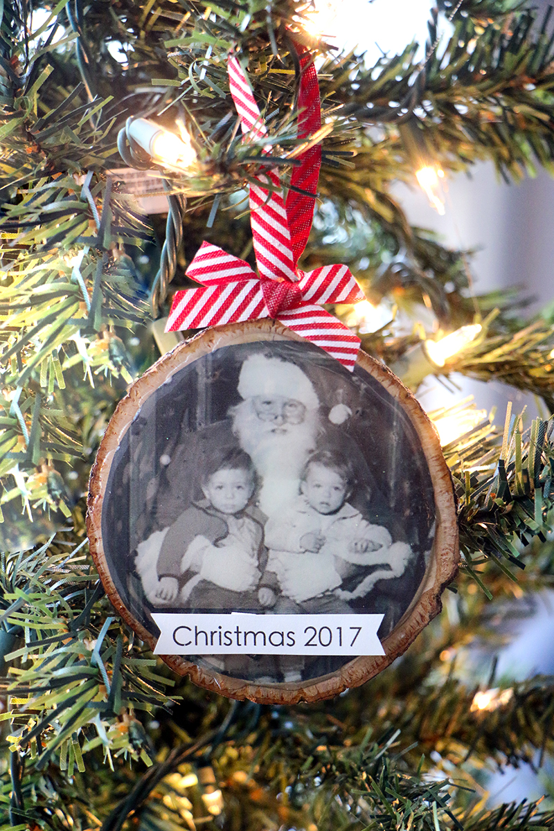 photo wood slice ornament diy