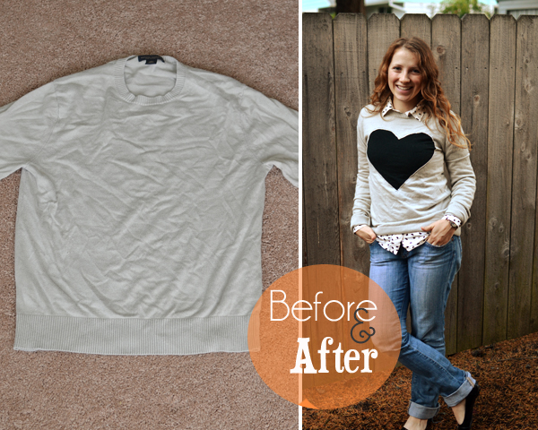 heart sweater refashion