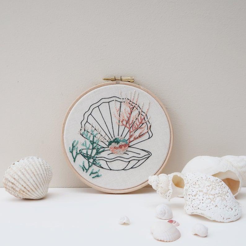 seashell embroidery pattern