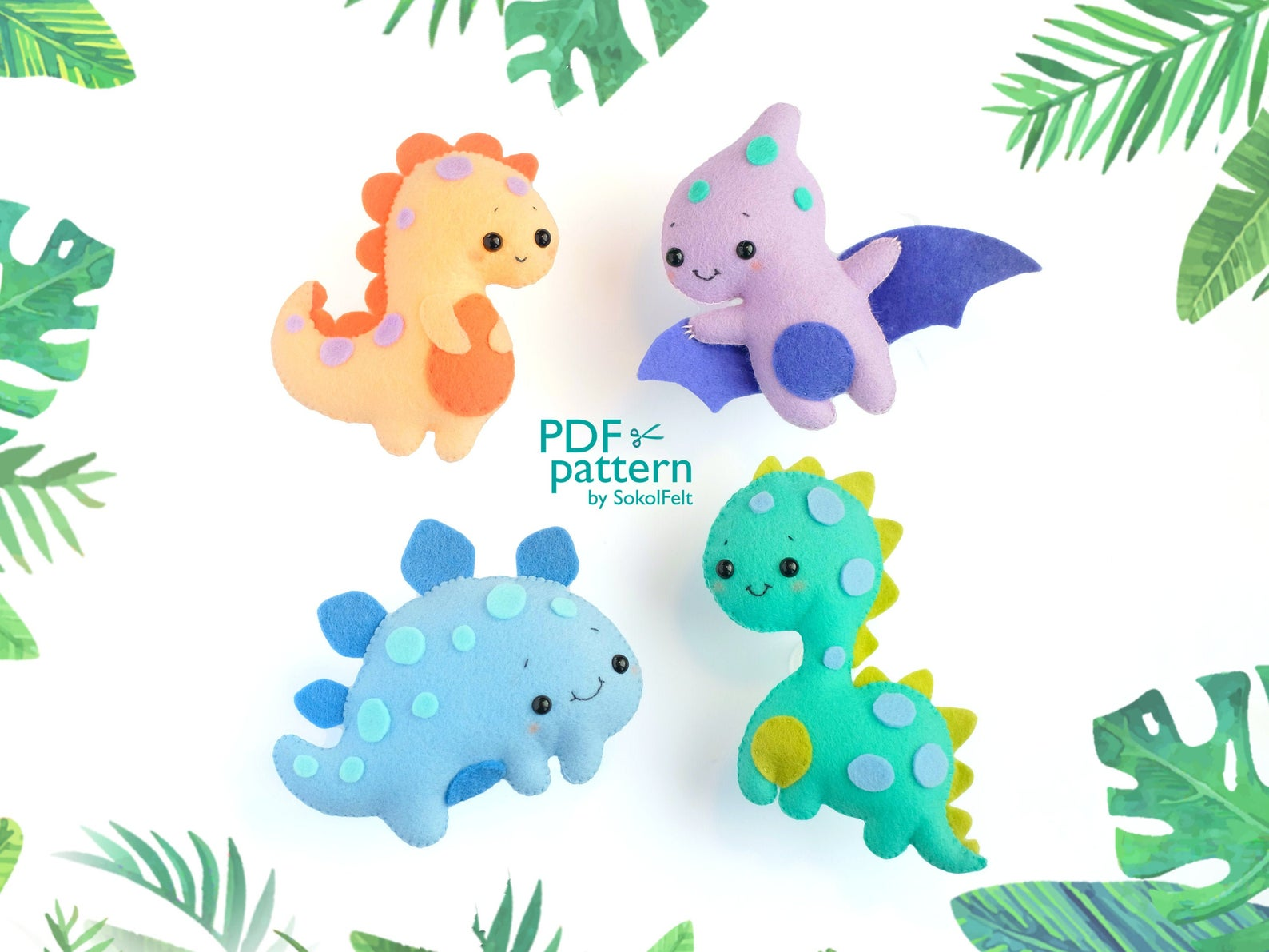 small dinosaur felt patterns
