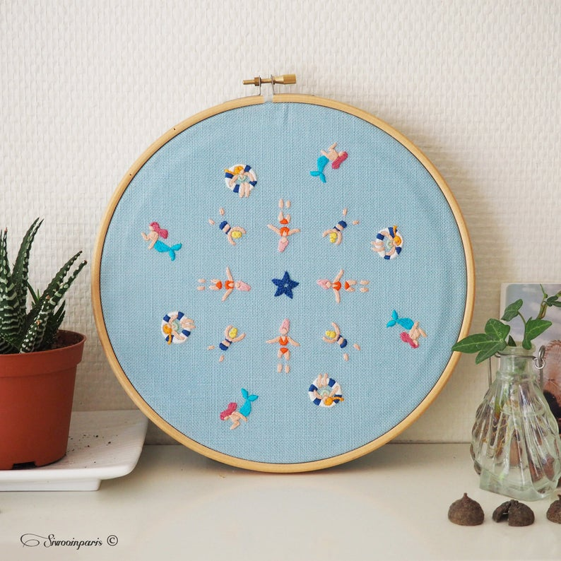 swimming pool ocean hand embroidery pattern
