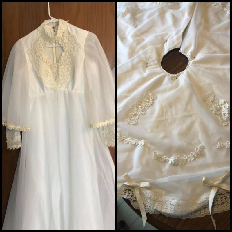 wedding dress made over into a tree skirt