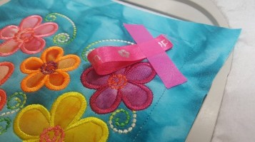 machine embroidery in the hoop frangipani mugrug