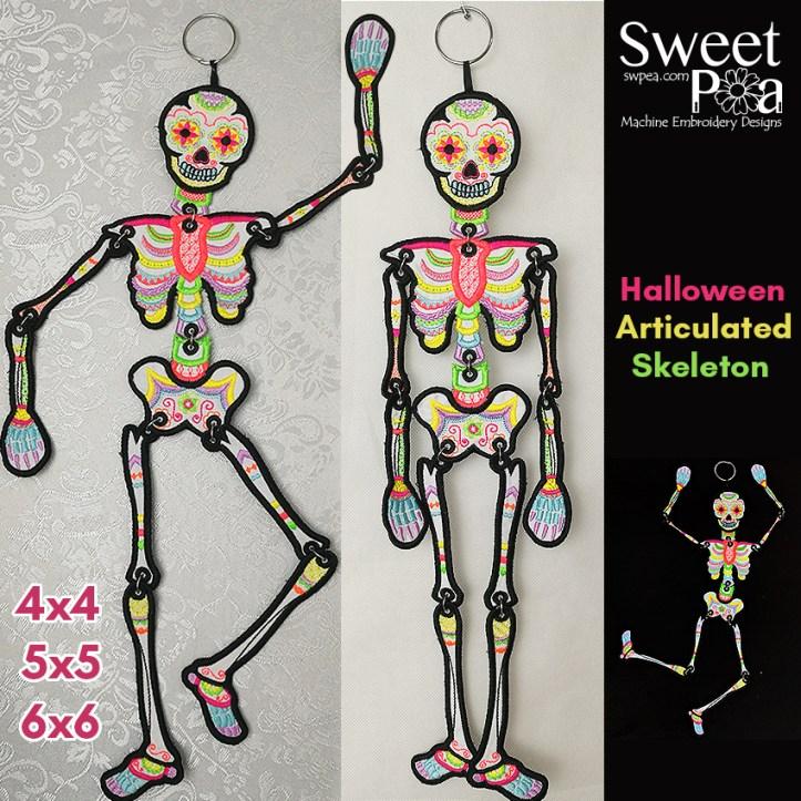 Halloween Articulated Skeleton 4x4 5x5 6x6in the hoop