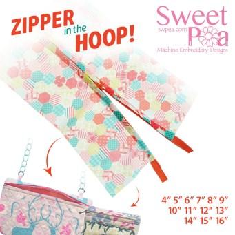 """Zipper 4"""" 5"""" 6"""" 7"""" 8"""" 9"""" 10"""" 11"""" 12"""" 13"""" 14"""" 15"""" 16""""in the hoop"""