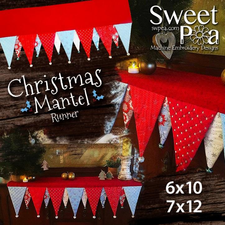 Christmas Mantel Runner 6x10 7x12 in the hoop