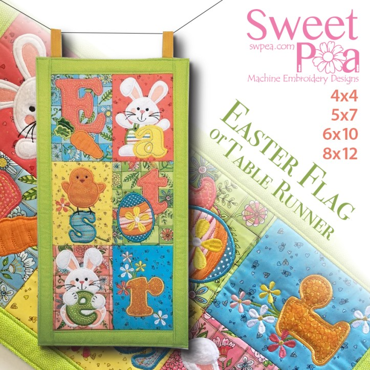 Easter Flag or Table Runner 5x7 6x10 and 8x12 in the hoop