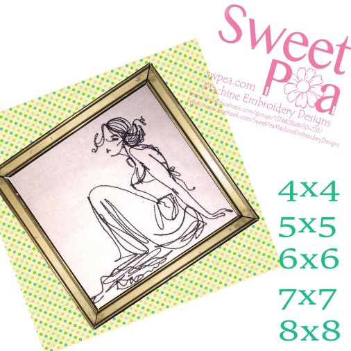 Redwork relaxed lady 4x4 5x5 6x6 7x7 8x8 in the hoop machine embroidery design